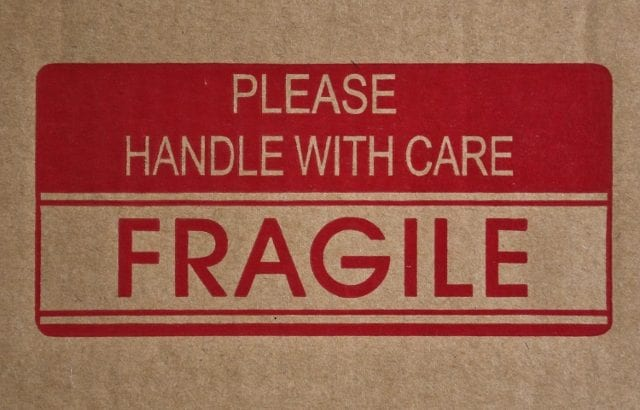Fragile Sign on packing box